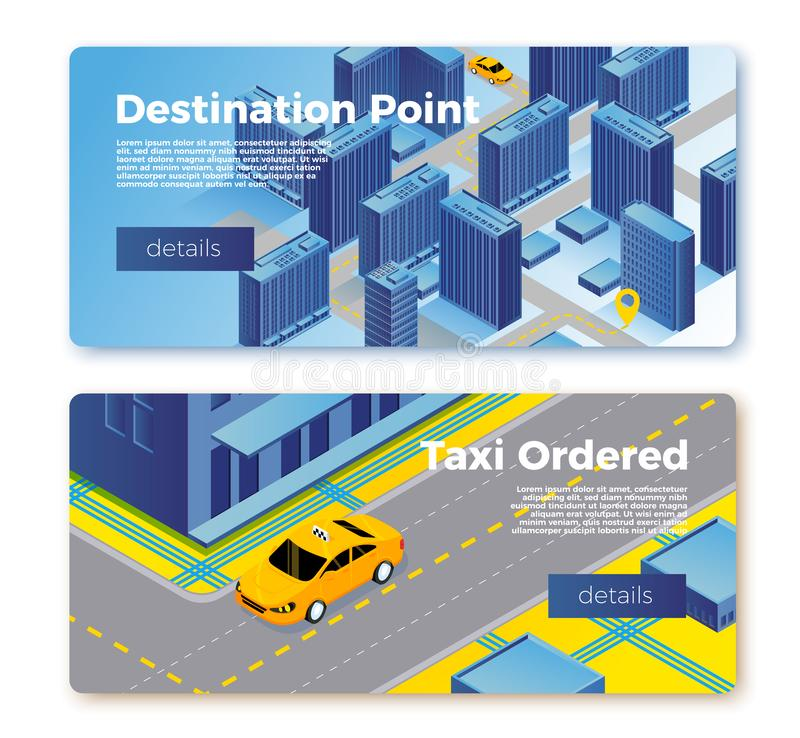 Vector taxi gps service banner templates concept stock illustration