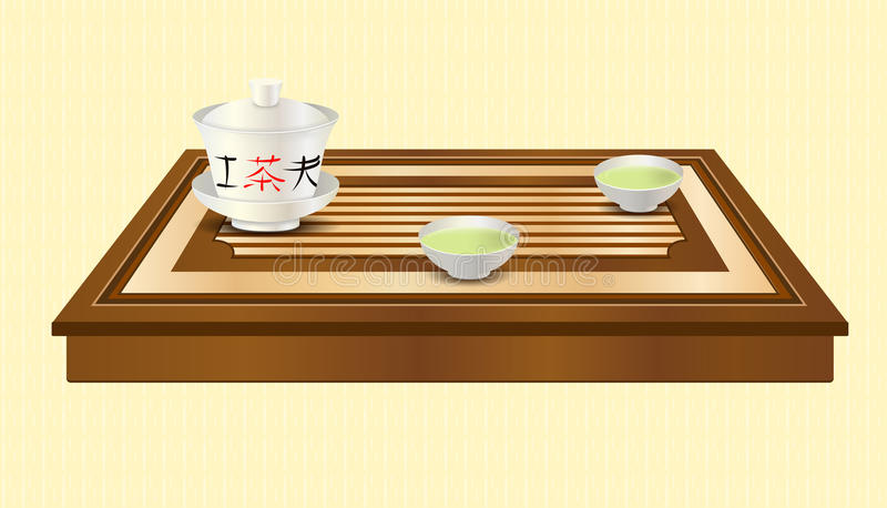 Vector tea ceremony. Tea ceremony. Carved wooden tea tray, gaiwan and two chinese traditional porcelain cups with green tea. Tea ceremony. Yellow ethnic royalty free illustration
