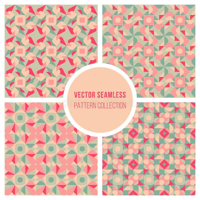 Vector Teal Geometric Retro Square Pattern rosado inconsútil stock de ilustración