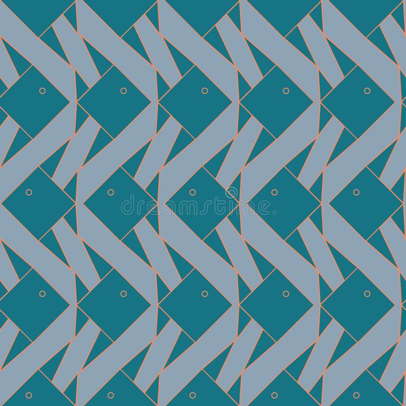 Vector Teal Green Gray Origami Fish Seamless Repeat Background Pattern. For Surface Design stock illustration