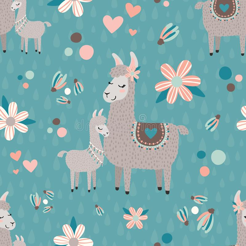 Vector Teal Mama Llama Seamless Pattern Background vector illustration