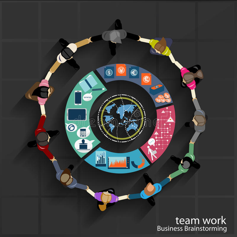 Vector Team work Business brainstorming and collaborate. With graph royalty free illustration