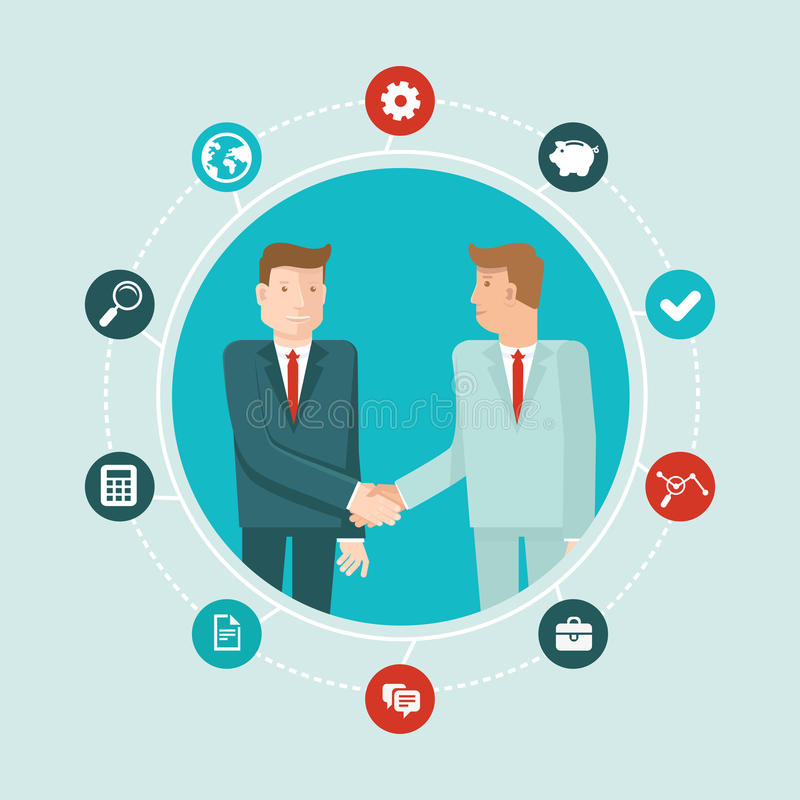 Vector teamwork and cooperation concept. In flat style - male partners shaking hands - agreement and business icon stock illustration