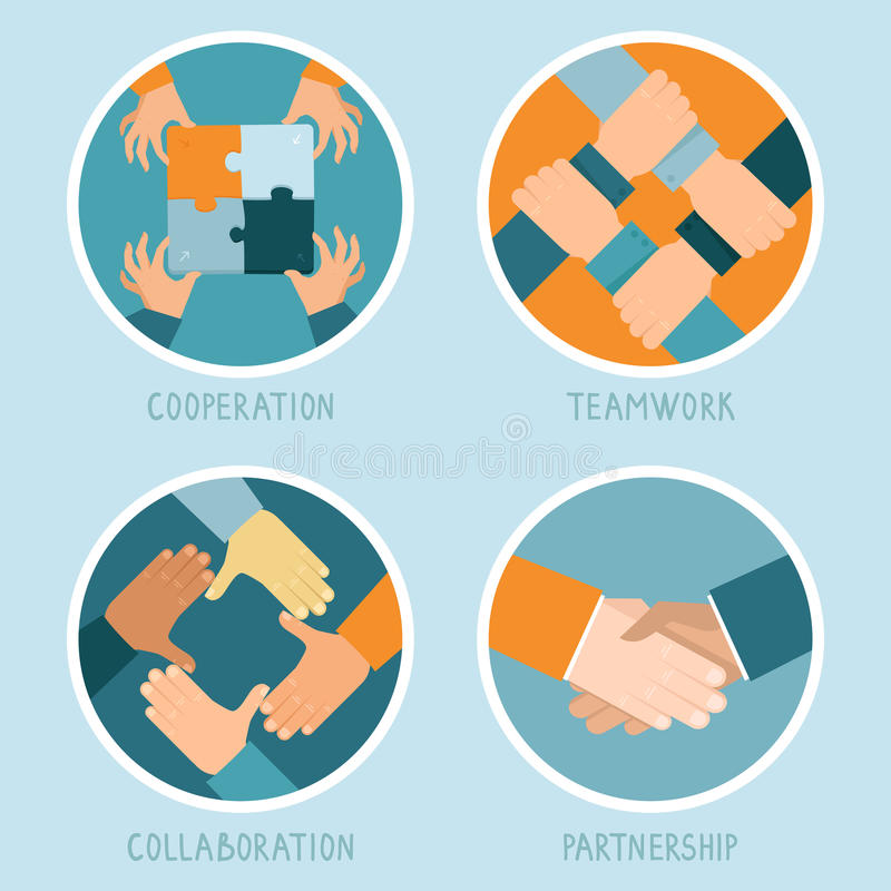 Vector teamwork and cooperation concept. In flat style - partnership and collaboration icons - businessmen hands vector illustration