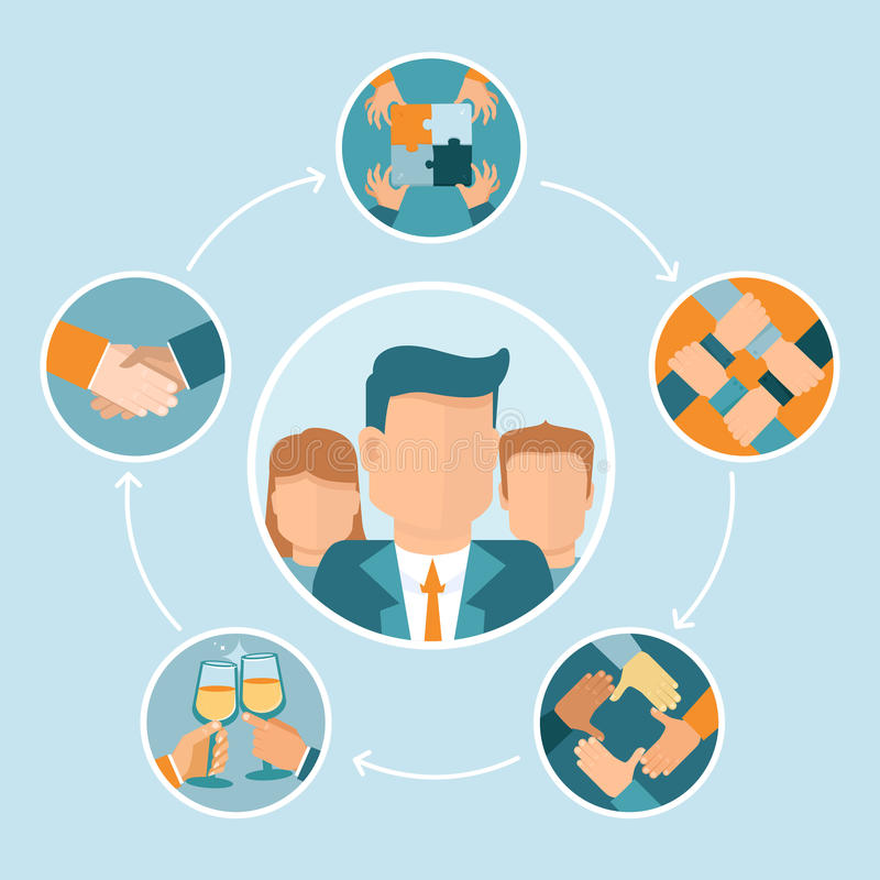 Vector teamwork and cooperation concept. In flat style - partnership and collaboration icons - businessmen hands stock illustration