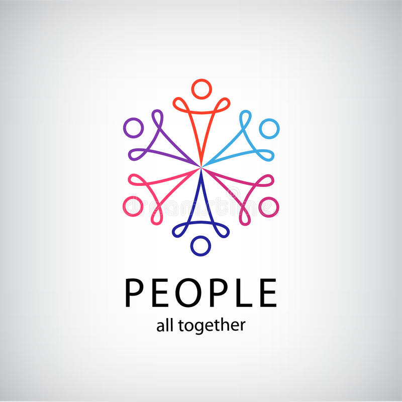 Vector teamwork, social net, people together icon. Company outline logo isolated vector illustration