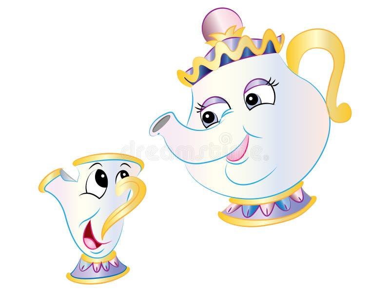 Vector Teapot & Chip from Beauty & the Beast. Vector Illustration clipart cute cartoon Teapot & Chip from Beauty & the Beast stock illustration