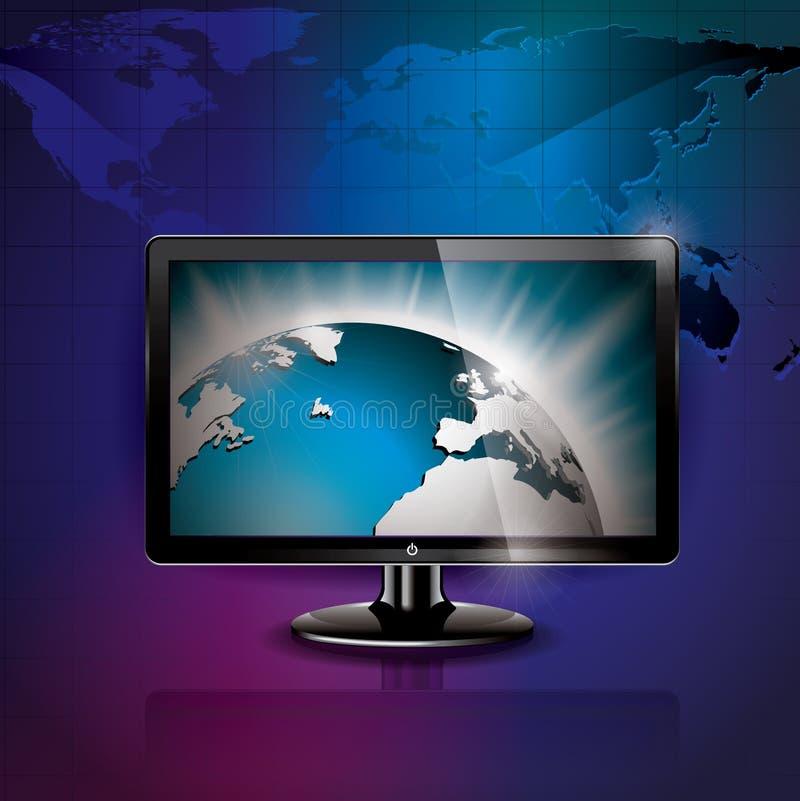 Vector technologie gestileerde illustratie met glanzend wereldbeeld. royalty-vrije illustratie