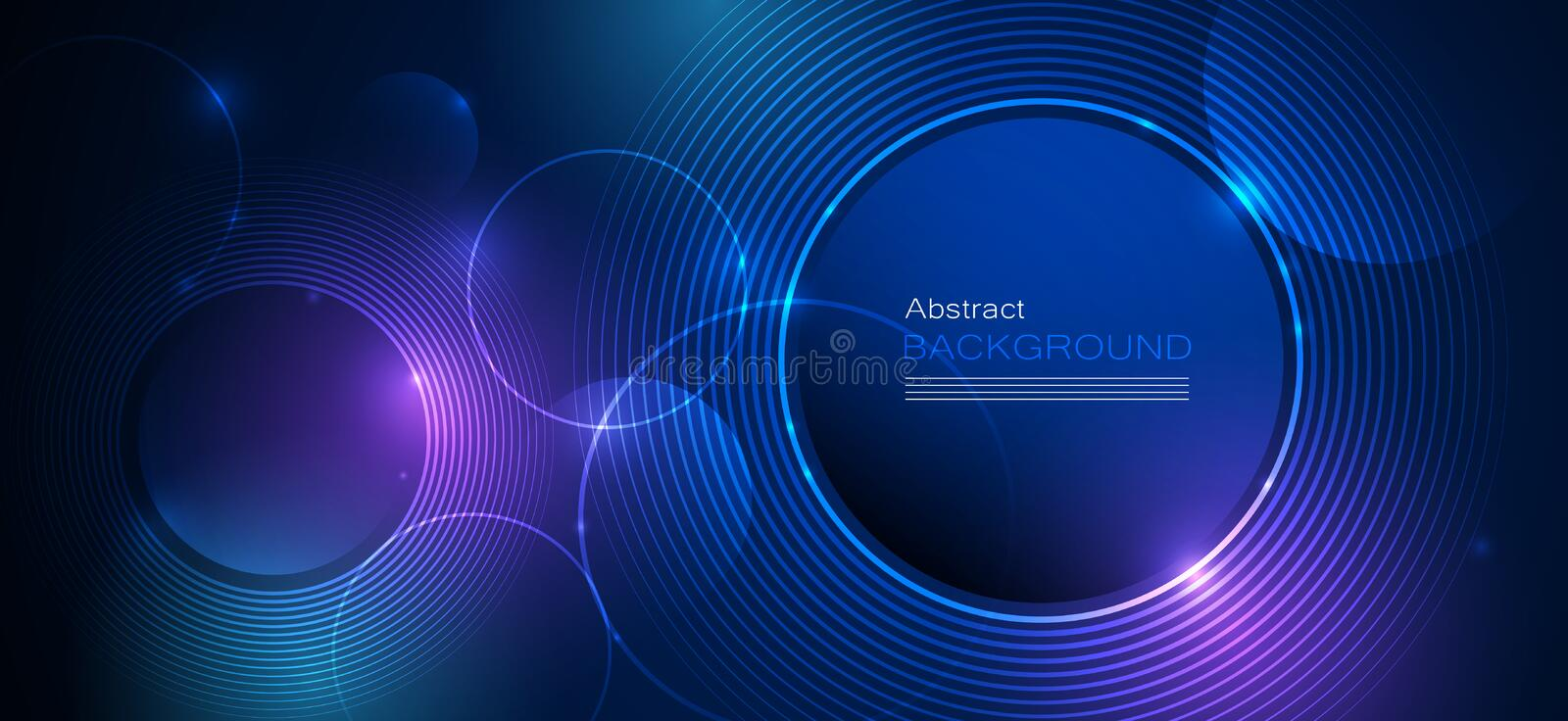 Illustration Abstract glowing, neon light effect, wave line, wavy pattern. Vector design communication techno on blue background. Futuristic digital technology royalty free illustration