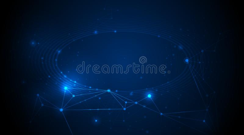 Abstract internet network connection design for web site.Digital data,communication,science and futuristic concept. Vector technology on blue background stock illustration