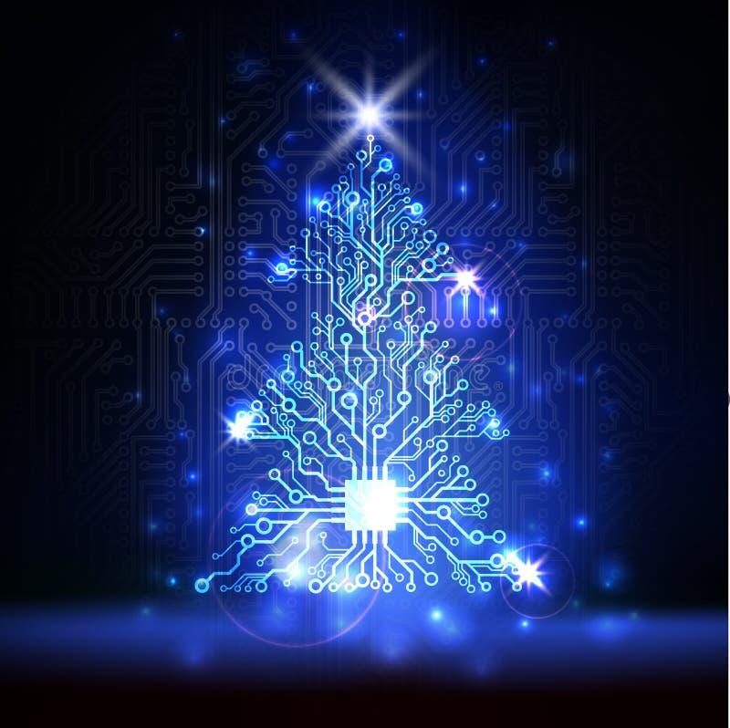 Vector technology Christmas tree vector illustration