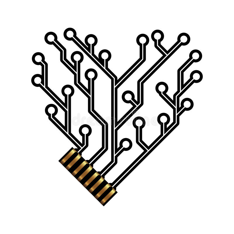 Vector technology circuit board heart shape. With connector royalty free illustration