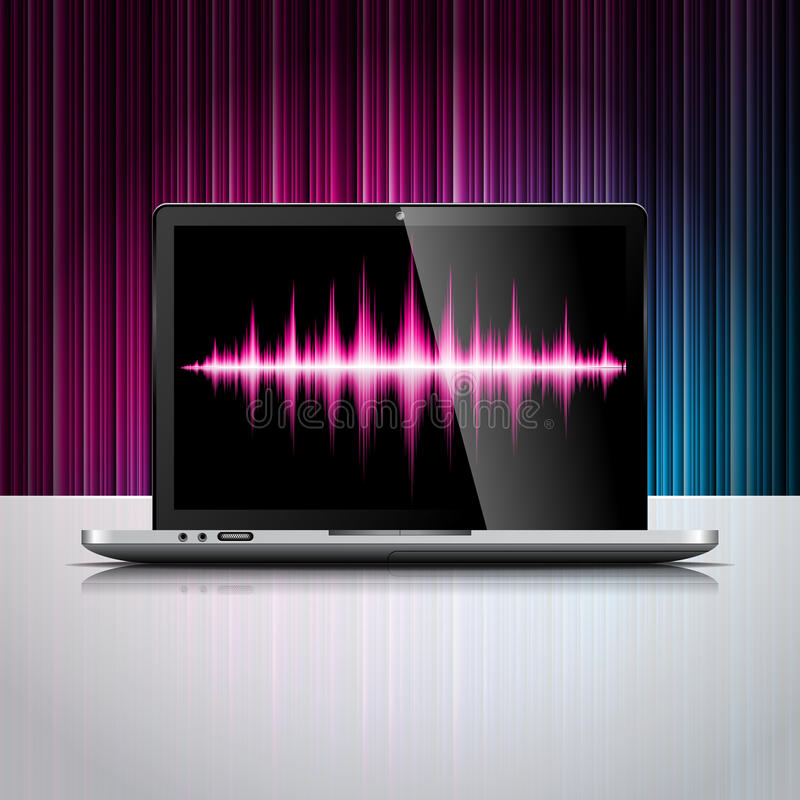 Download Vector Technology Styled Illustration With Shiny Laptop Device On Color Background. Stock Vector - Image: 29788044