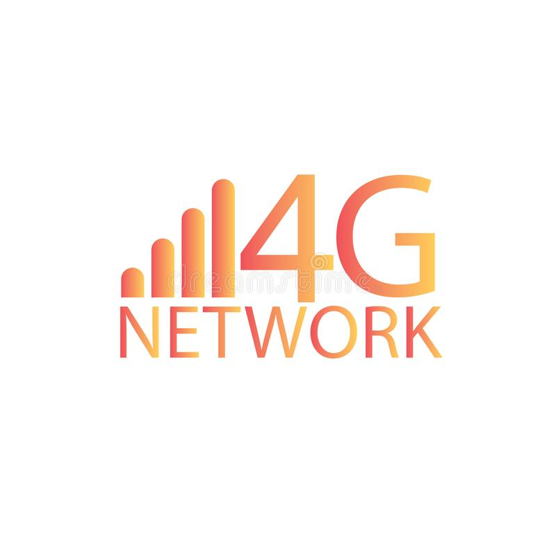 Vector technology icon network sign 4G. Illustration 4g internet symbol in flat line minimalism style. - Vector - Vector stock illustration
