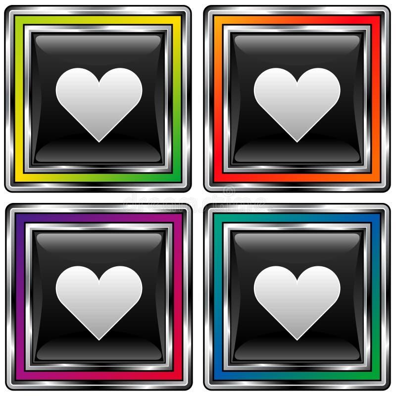 Vector a tecla quadrada com ícone do coração ou do amor ilustração stock