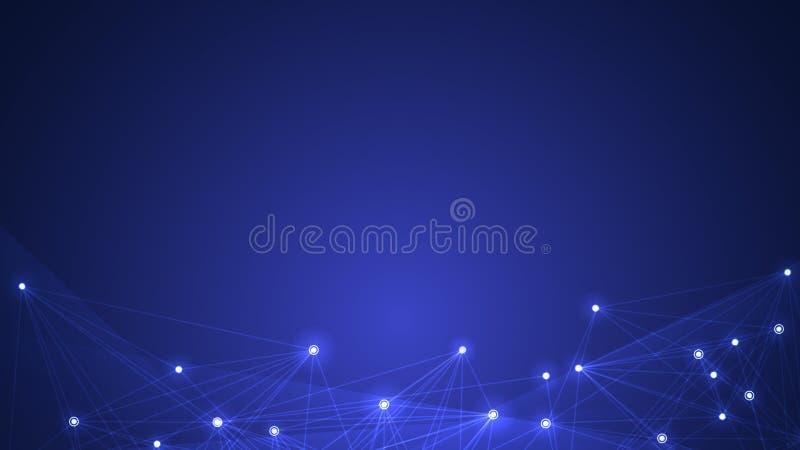 Vector a tecnologia de comunicação da rede do projeto na obscuridade - fundo azul ilustração do vetor