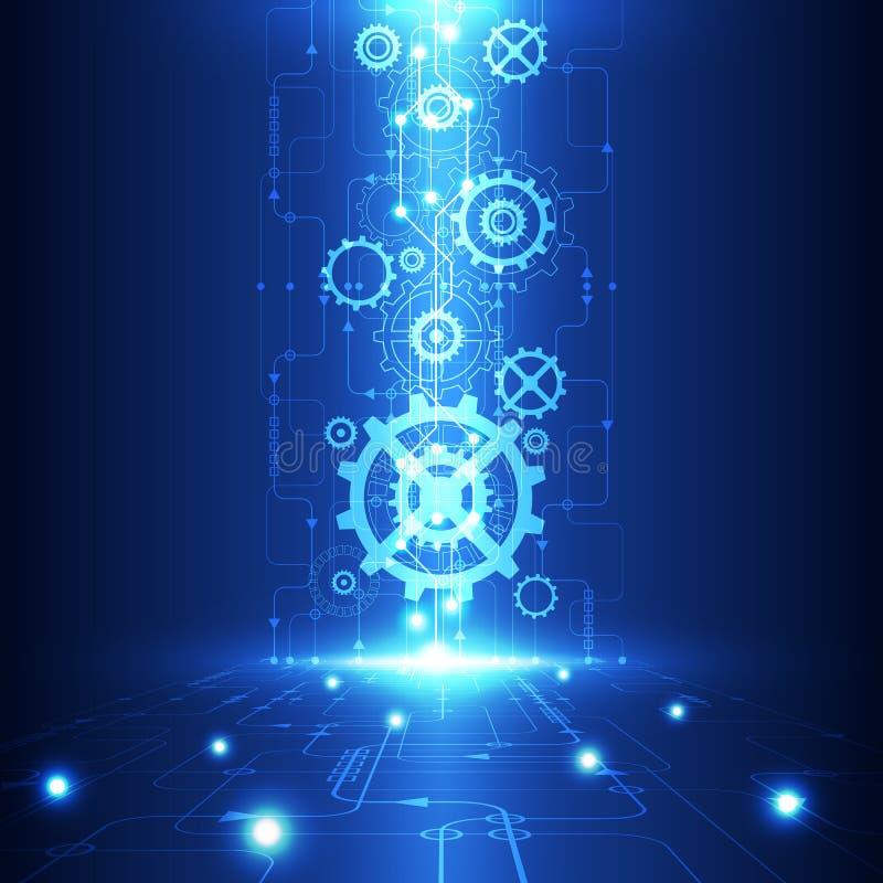 Vector a tecnologia futura da engenharia abstrata, fundo bonde das telecomunicações ilustração stock