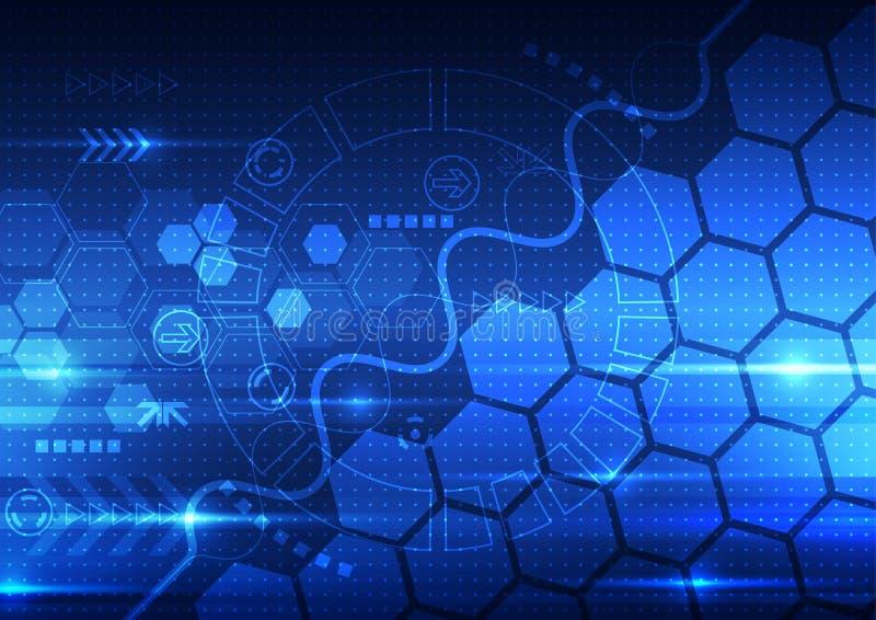 Vector a tecnologia futura da engenharia abstrata, fundo das telecomunicações ilustração do vetor