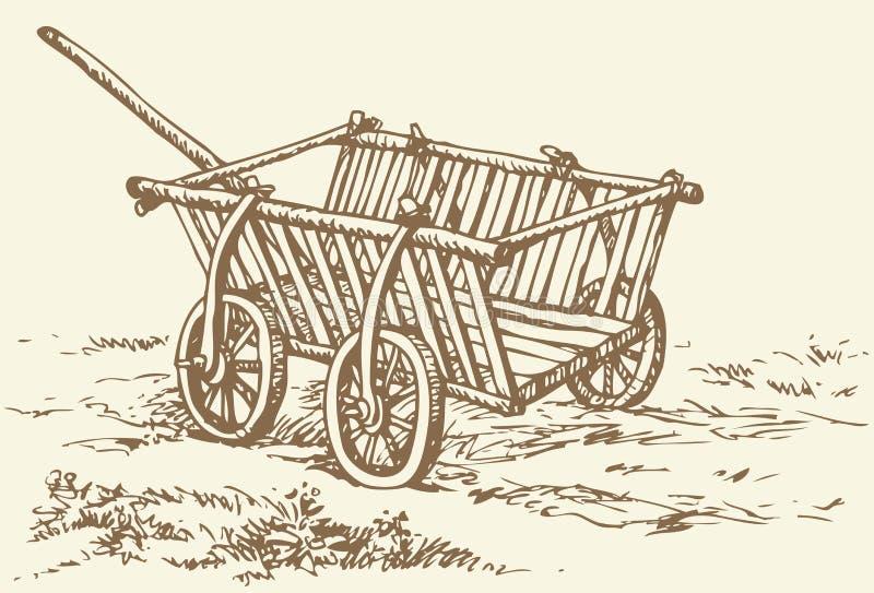 Vector tekening Archaïsch houten lege kar stock illustratie