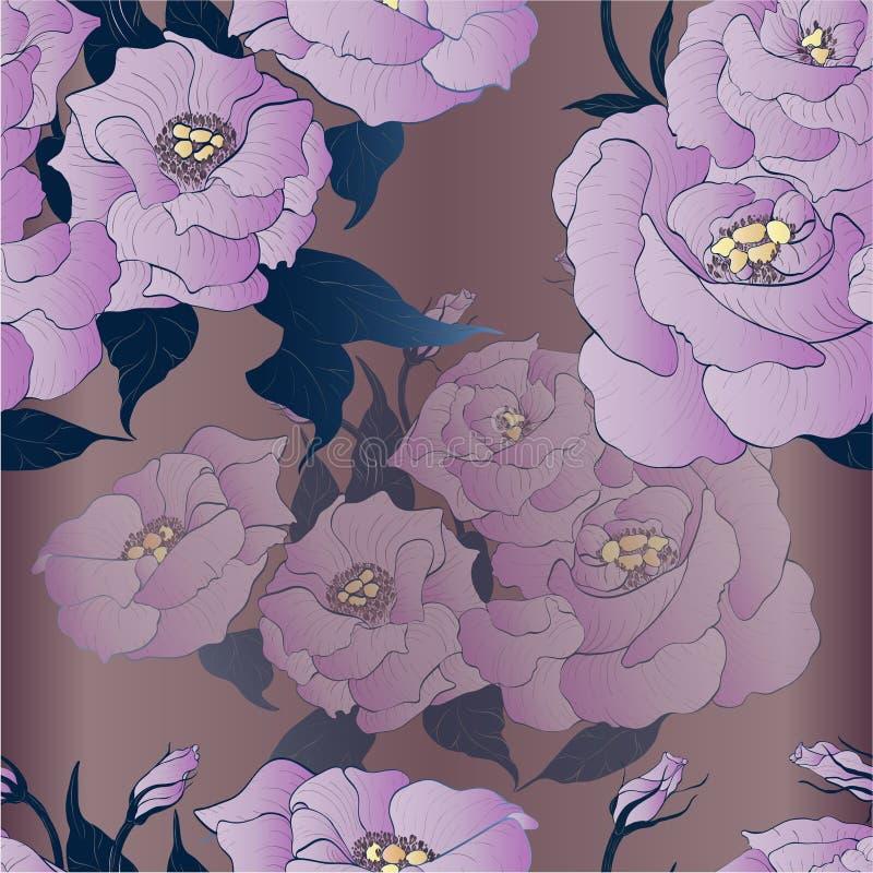 Vector tekening Eustoma - bloemen en knoppen Naadloos patroon vector illustratie
