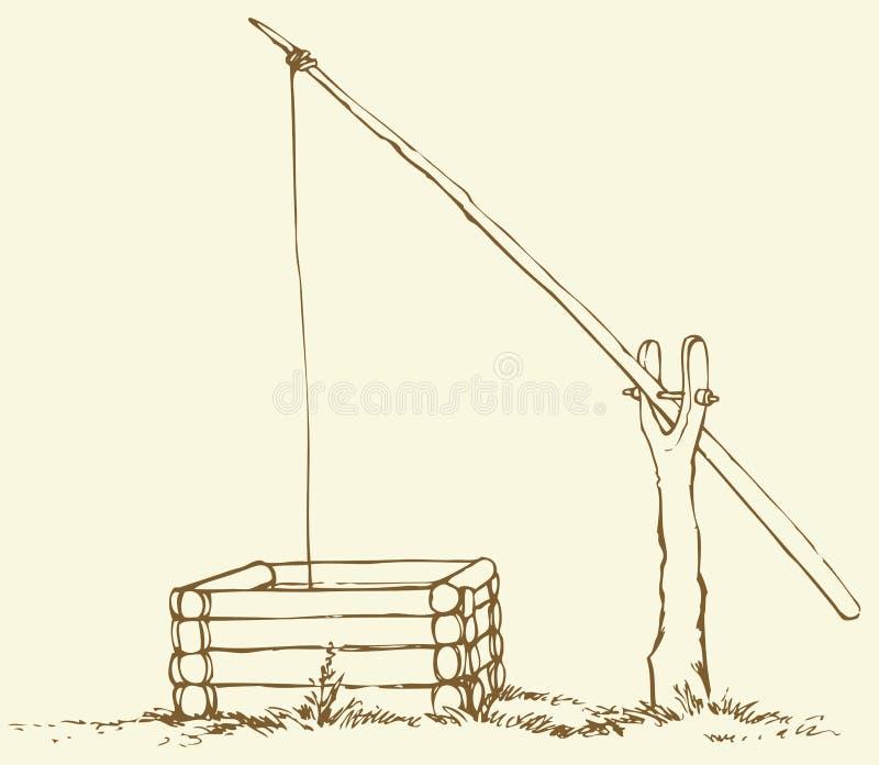 Vector tekening Oude houten shadoof op het gebied vector illustratie