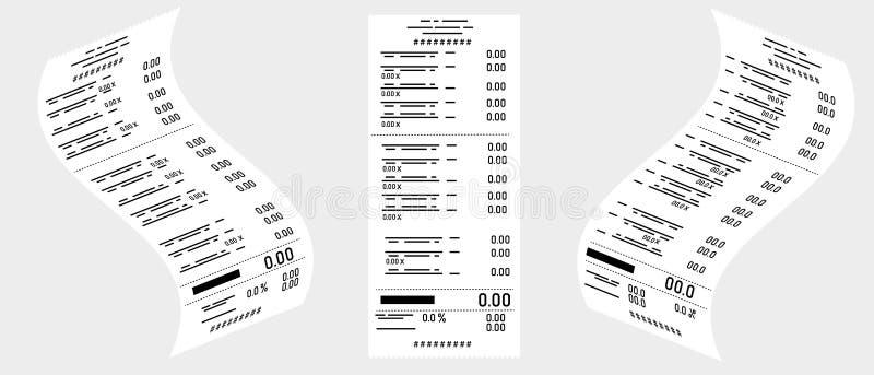 Vector tekening Reeks controles van de kassier van een grijze achtergrond Zaken, e-commerce stock illustratie