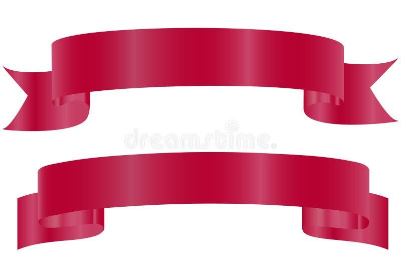 Vector tekening Rode glanzende gebogen die linten op witte achtergrond worden ge?soleerd Realistisch ontwerp, element voor groet  stock illustratie