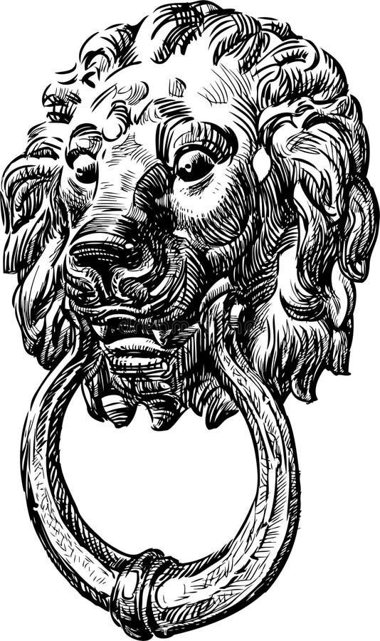 Oud deurhandvat stock illustratie