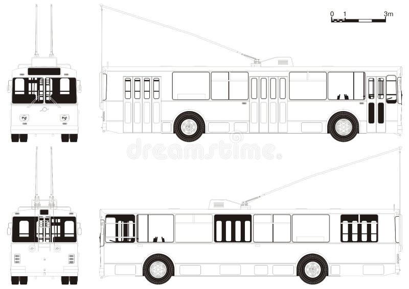 Vector tekenings stedelijke trolleybus vector illustratie