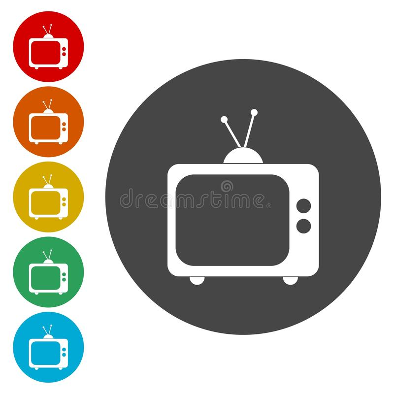 Vector television circle, Old Tv icon. Vector icon stock illustration