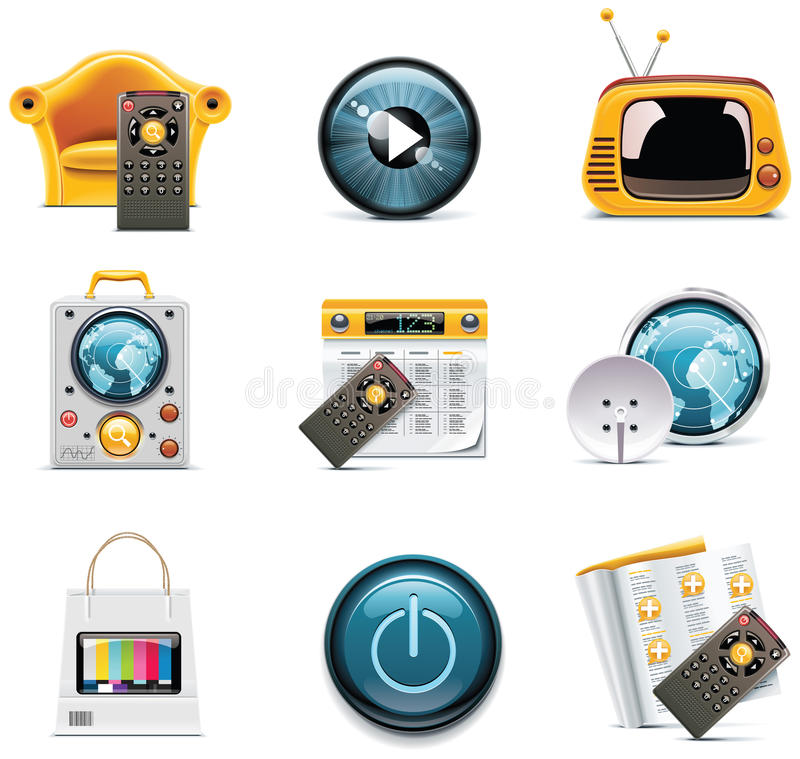 Download Vector television icons stock vector. Image of global - 16953829