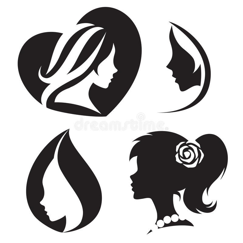 Vector template abstract logo for woman salons and shops. stock illustration