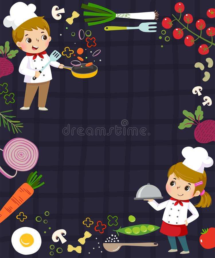 Template for advertising background in cooking concept with two kid chefs. Vector of template for advertising background in cooking concept with two kid chefs royalty free illustration