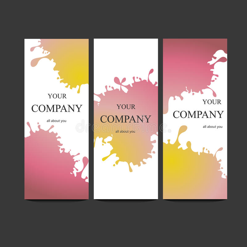 Vector template banners with watercolor paint abstract background stock photo