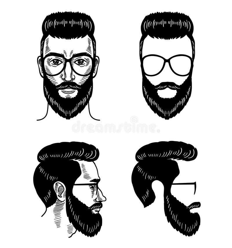 vector template for barbershop beard glasses face mustache haircut
