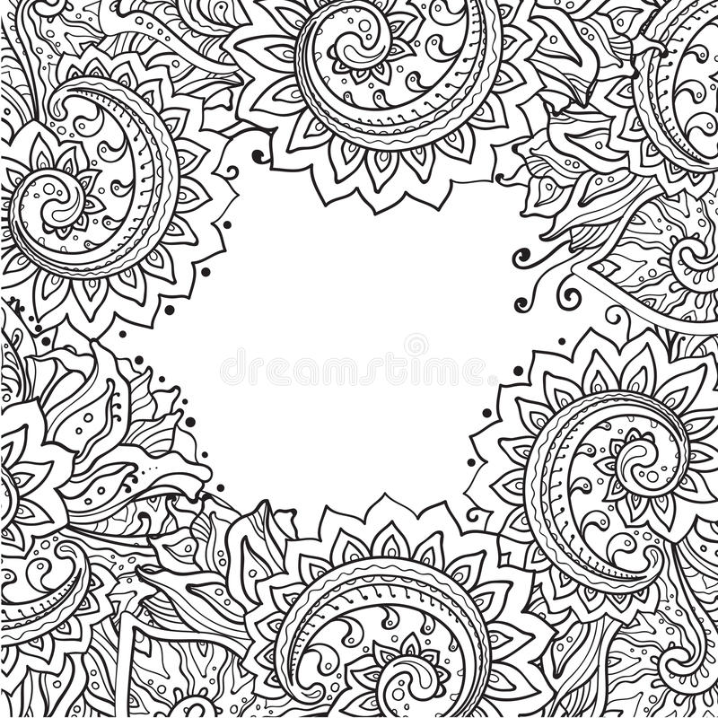Vector template with beautiful monochrome floral pattern stock illustration