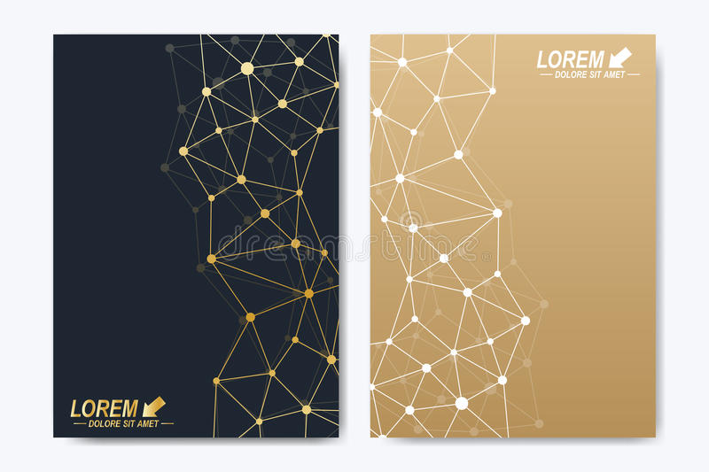 Vector template for brochure, Leaflet, flyer, advert, cover, catalog, poster, magazine or annual report. Golden. Presentation book layout. Geometric pattern stock illustration