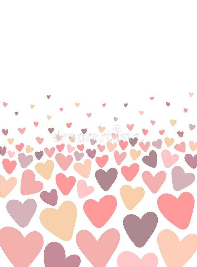 Vector template of card on the background of hearts. Illustration for Valentine`s Day, lovers, prints, clothes, textiles, cards, b royalty free illustration