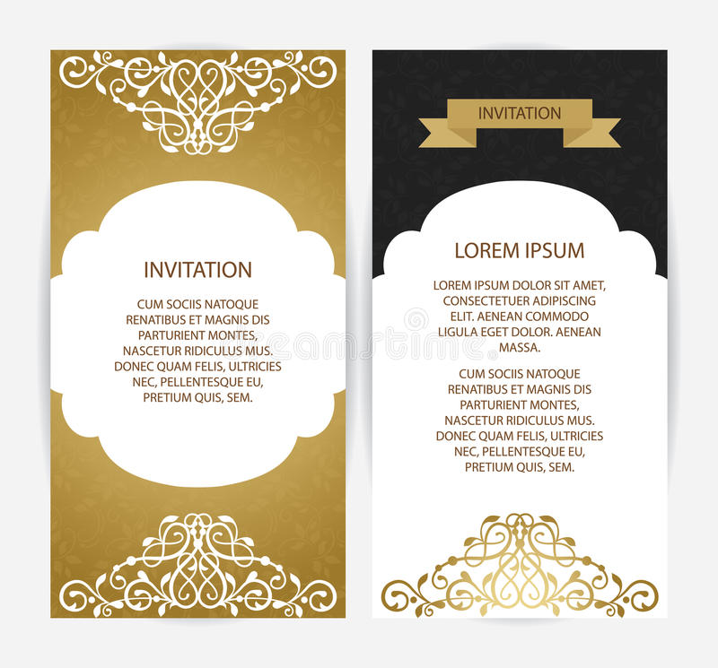 Vector template cards. Vintage art traditional, Islam, arabic, indian, elements. Vector decorative retro greeting card or invitation design stock illustration