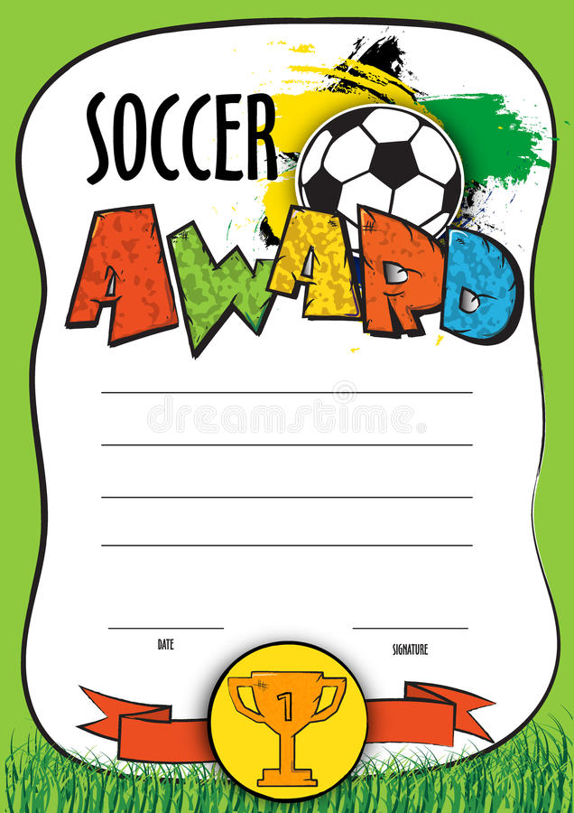Vector template certificate soccer championship. child diploma to be awarded to the winners, players, the best royalty free illustration