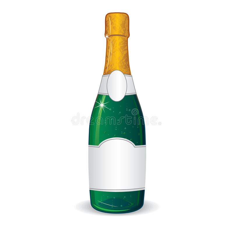 Champagne bottle with blank label for your text stock for Bubble bottle label template