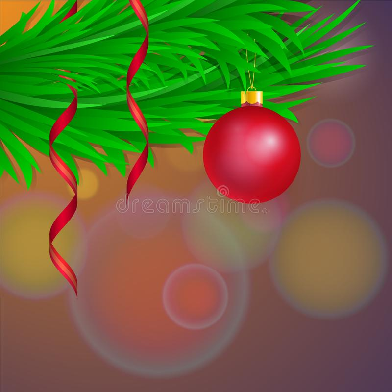 Vector template for christmas card with red glass tree ball and gold tinsel. Dark background with copy space. 3D illustration royalty free illustration
