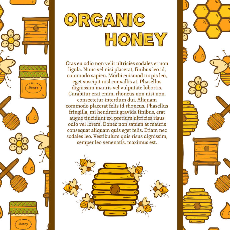 Vector template with cute cartoon hand drawn. Objects on beekeeping theme: bee, honey, flowers, bee hat, bee spoon, beehive. Farm or eco concept. Includs vector illustration