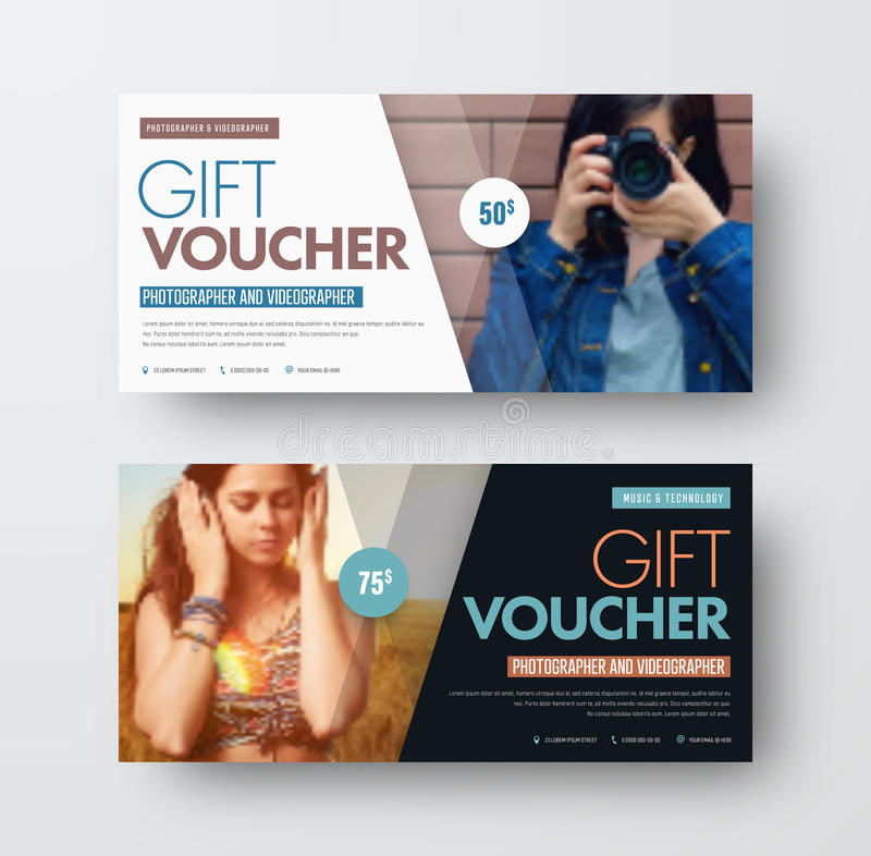Vector Template of a gift black and white voucher with diagonal stock illustration