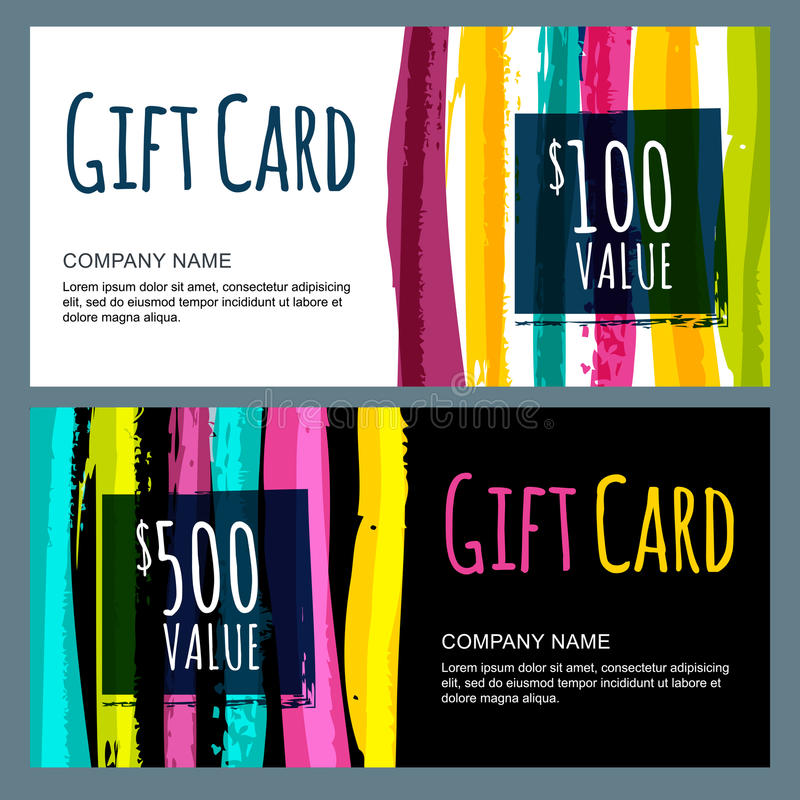 Vector template for gift card with abstract watercolor stripes. Background. Trendy colorful pattern vector illustration