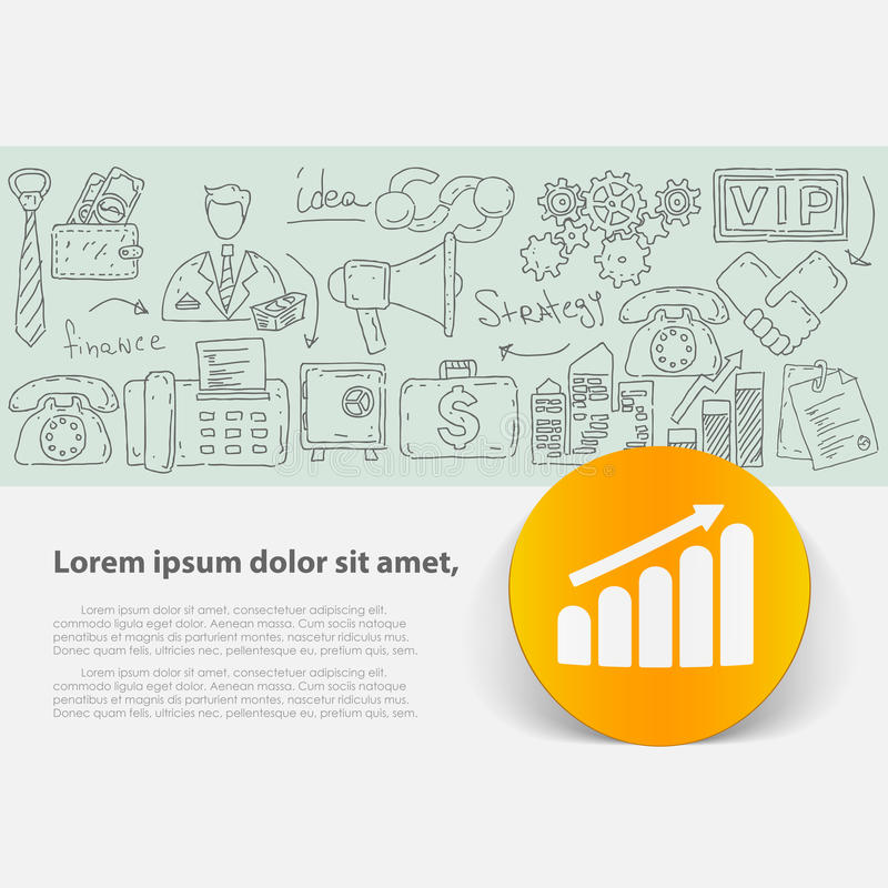 Vector template with hand drawn doodles business theme. Target marketing concept vector illustration