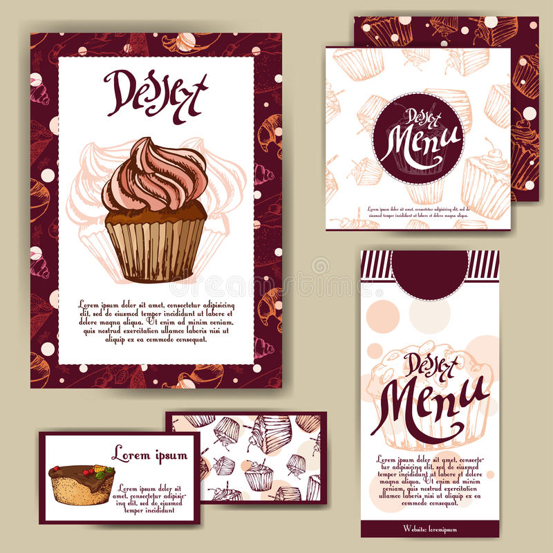 Vector template with hand drawn sketch bakery. Dessert menu design for reataurant or cafe. Cards with sweet bakery illustration. stock illustration