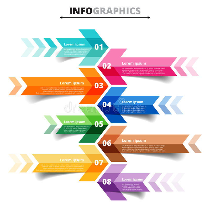 Vector template. Infographic arrows 8 options, steps, parts, pie vector illustration