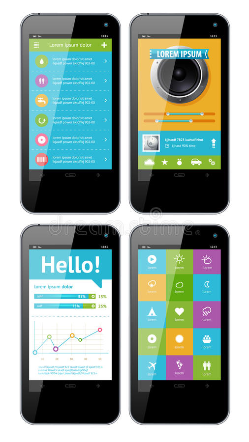 Download Vector Template Interface For Phone Stock Vector - Illustration of vector, banner: 27305360