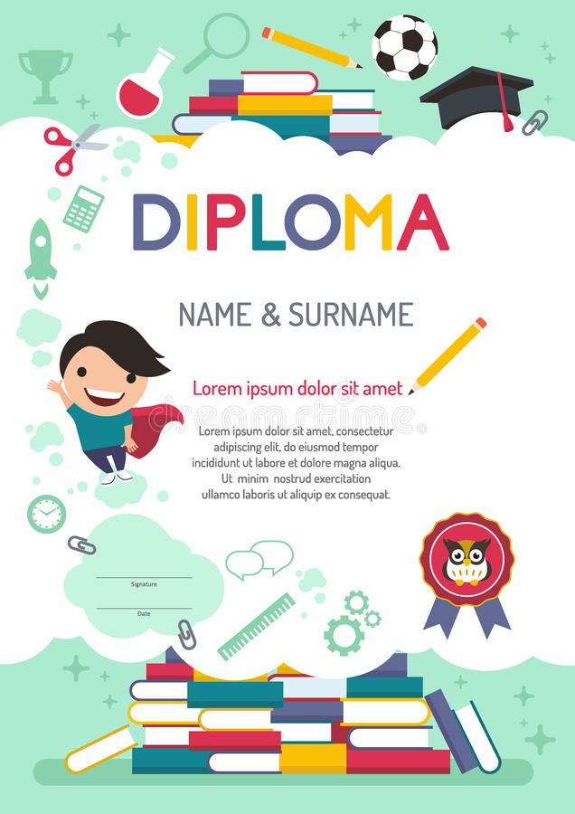 Vector template kids diploma at graduation vector illustration